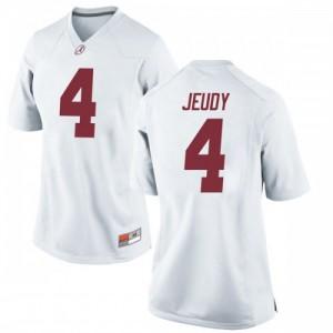 Women Alabama Crimson Tide Jerry Jeudy #4 College White Replica Football Jersey 961162-218