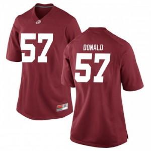 Women Alabama Crimson Tide Joe Donald #57 College Crimson Replica Football Jersey 175969-883