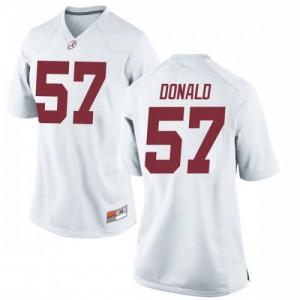 Women Alabama Crimson Tide Joe Donald #57 College White Replica Football Jersey 969766-757