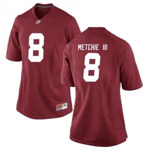 Women Alabama Crimson Tide John Metchie III #8 College Crimson Replica Football Jersey 500010-956