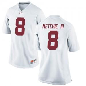 Women Alabama Crimson Tide John Metchie III #8 College White Replica Football Jersey 224401-639