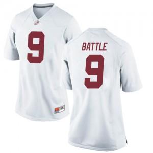 Women Alabama Crimson Tide Jordan Battle #9 College White Replica Football Jersey 882299-836