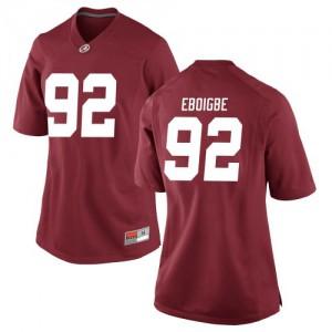 Women Alabama Crimson Tide Justin Eboigbe #92 College Crimson Replica Football Jersey 216509-445