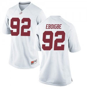 Women Alabama Crimson Tide Justin Eboigbe #92 College White Replica Football Jersey 350537-441