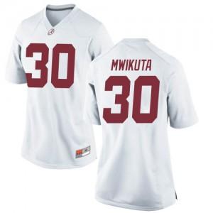 Women Alabama Crimson Tide King Mwikuta #30 College White Replica Football Jersey 420775-512