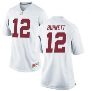 Women Alabama Crimson Tide Logan Burnett #12 College White Game Football Jersey 673182-655