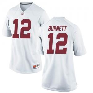 Women Alabama Crimson Tide Logan Burnett #12 College White Replica Football Jersey 146551-377