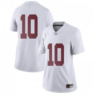 Women Alabama Crimson Tide Mac Jones #10 College White Limited Football Jersey 417827-536