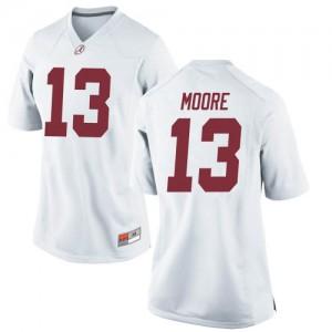 Women Alabama Crimson Tide Malachi Moore #13 College White Replica Football Jersey 529029-500
