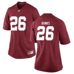 Women Alabama Crimson Tide Marcus Banks #26 College Crimson Replica Football Jersey 887898-864