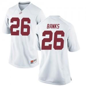 Women Alabama Crimson Tide Marcus Banks #26 College White Replica Football Jersey 114344-569