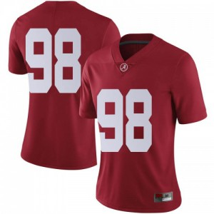 Women Alabama Crimson Tide Mike Bernier #98 College Crimson Limited Football Jersey 900702-619