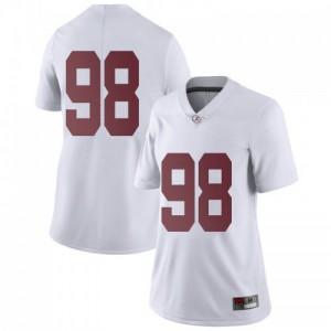 Women Alabama Crimson Tide Mike Bernier #98 College White Limited Football Jersey 365613-423
