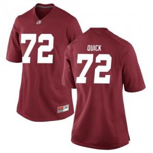 Women Alabama Crimson Tide Pierce Quick #72 College Crimson Replica Football Jersey 423502-966
