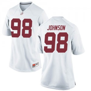 Women Alabama Crimson Tide Sam Johnson #98 College White Replica Football Jersey 769892-513