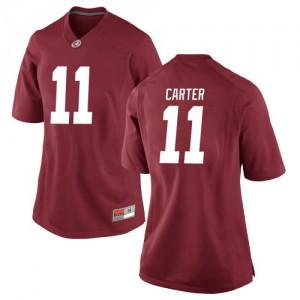 Women Alabama Crimson Tide Scooby Carter #11 College Crimson Replica Football Jersey 577483-945