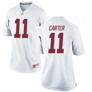 Women Alabama Crimson Tide Scooby Carter #11 College White Replica Football Jersey 925708-548