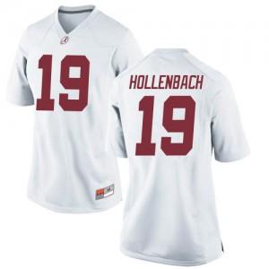 Women Alabama Crimson Tide Stone Hollenbach #19 College White Replica Football Jersey 624370-861