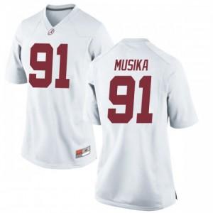 Women Alabama Crimson Tide Tevita Musika #91 College White Game Football Jersey 323931-258