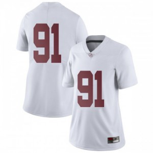Women Alabama Crimson Tide Tevita Musika #91 College White Limited Football Jersey 901771-775