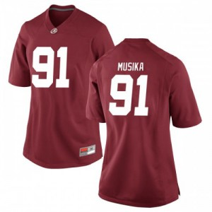 Women Alabama Crimson Tide Tevita Musika #91 College Crimson Replica Football Jersey 293910-886