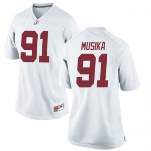 Women Alabama Crimson Tide Tevita Musika #91 College White Replica Football Jersey 127000-184