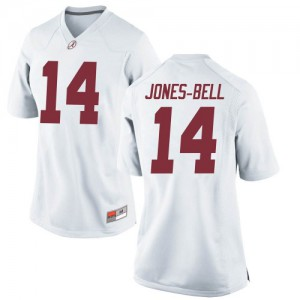 Women Alabama Crimson Tide Thaiu Jones-Bell #14 College White Game Football Jersey 464015-843