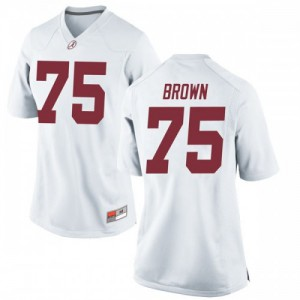 Women Alabama Crimson Tide Tommy Brown #75 College White Replica Football Jersey 243067-588