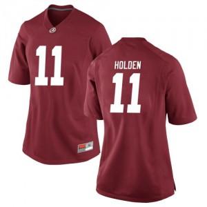 Women Alabama Crimson Tide Traeshon Holden #11 College Crimson Replica Football Jersey 951907-150