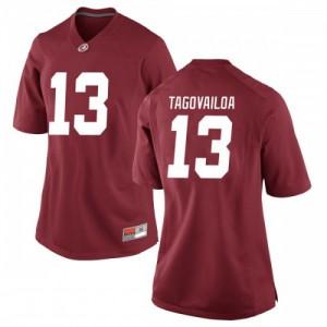 Women Alabama Crimson Tide Tua Tagovailoa #13 College Crimson Replica Football Jersey 233965-357