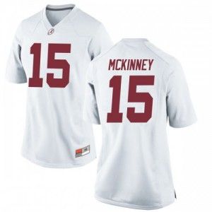 Women Alabama Crimson Tide Xavier McKinney #15 College White Replica Football Jersey 705819-409