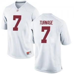 Youth Alabama Crimson Tide Brandon Turnage #7 College White Game Football Jersey 828870-985