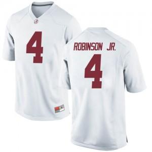 Youth Alabama Crimson Tide Brian Robinson Jr. #4 College White Replica Football Jersey 133326-779