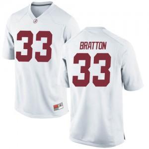Youth Alabama Crimson Tide Jackson Bratton #33 College White Replica Football Jersey 395596-375