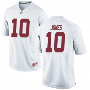 Youth Alabama Crimson Tide Mac Jones #10 College White Game Football Jersey 389843-117