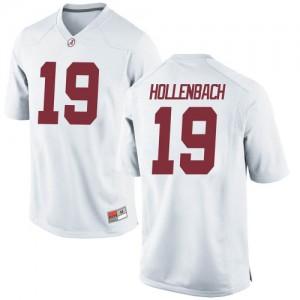 Youth Alabama Crimson Tide Stone Hollenbach #19 College White Replica Football Jersey 586428-349